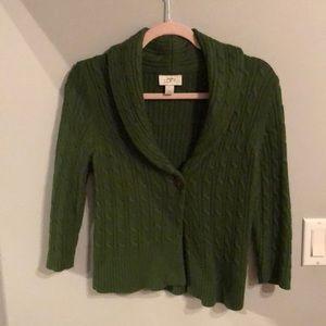 Shawl collar three quarter sleeve sweater.